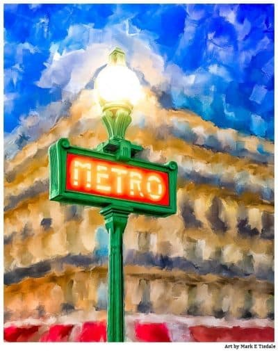Evening In Paris Painting - Metro Sign Print by Mark Tisdale