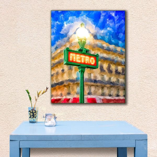 Evening In Paris Painting - Paris Metro Sign Canvas Print