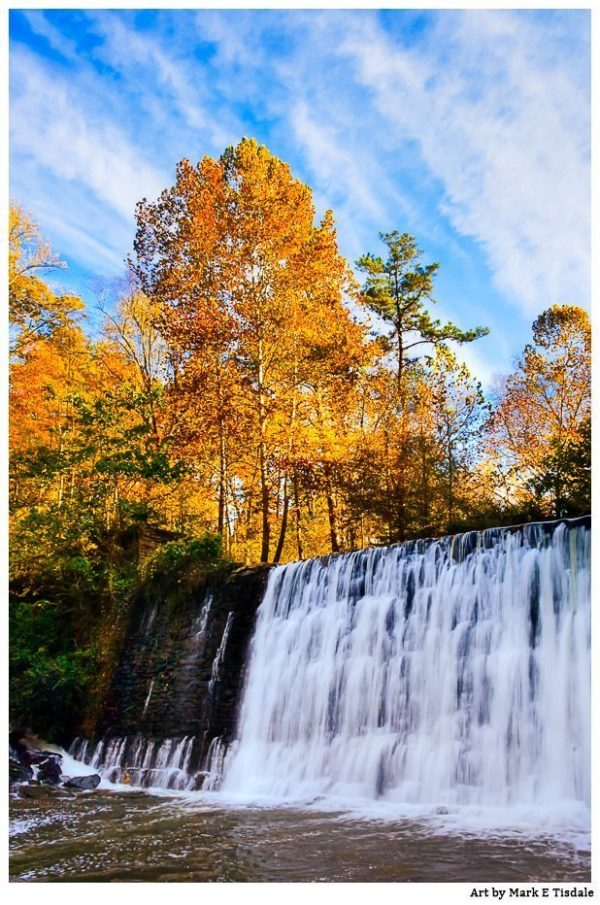 Dam at Old Roswell Mill – Georgia Fall Color Print by Mark Tisdale