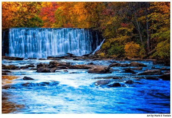 Roswell Dam in Fulton County Georgia - fall color and a waterfall - Print by Mark Tisdale
