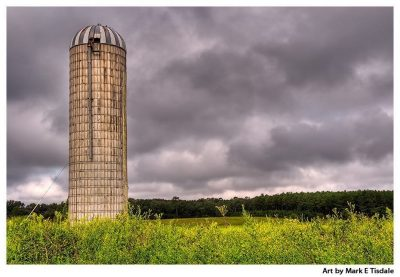Old farm silo beneath brooding skies in a Georgia Landscape Print by Mark Tisdale
