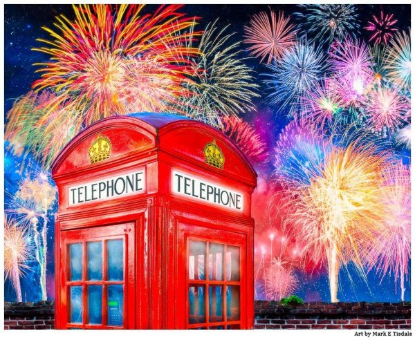 British Telephone Box With Fireworks Overhead Print by Mark Tisdale