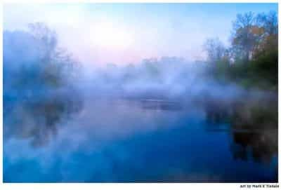 The Flint River in a fog - Georgia Landscape Print by Mark Tisdale