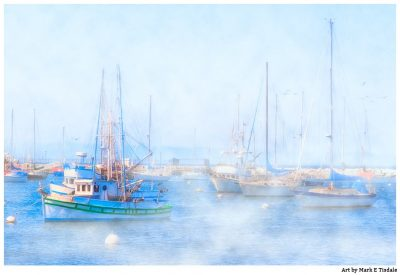 Harbor in Monterey Bay - Foggy Morning Print by Mark Tisdale