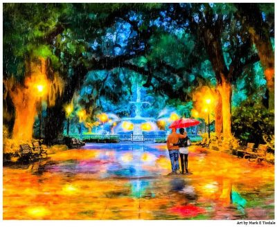 Forsyth Park - Savannanh Fountain Art Print by Georgia artist Mark Tisdale