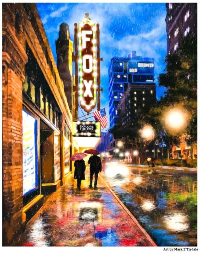 Fox Theatre - Rainy Atlanta Artwork by Georgia artist Mark Tisdale