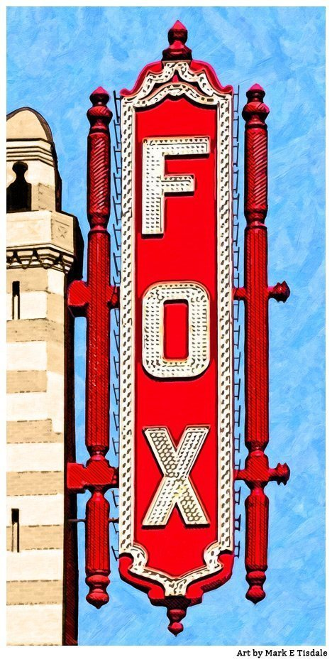 Atlanta Fox Theatre Sign Art Print by Georgia artist Mark Tisdale