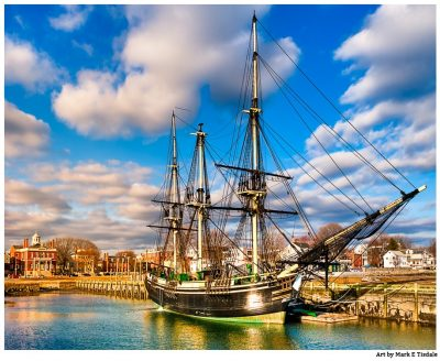 Friendship of Salem in Harbor - Massachusetts - Vintage Tall Ship Print By Mark Tisdale