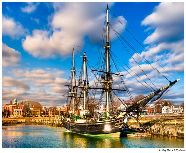 Friendship of Salem in Harbor - Massachusetts - Vintage Tall Ship Print By Mark Tisdale