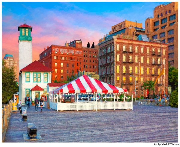 Fulton Ferry Landing and Brooklyn Fireboat house - Vintage Style Print by Mark Tisdale