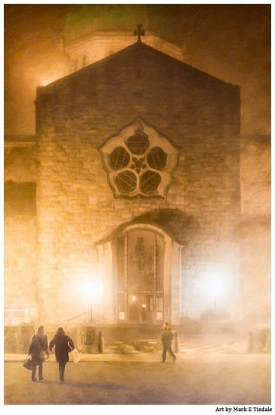 Galway Cathedral at night in a dense fog - Ireland Print by Mark Tisdale
