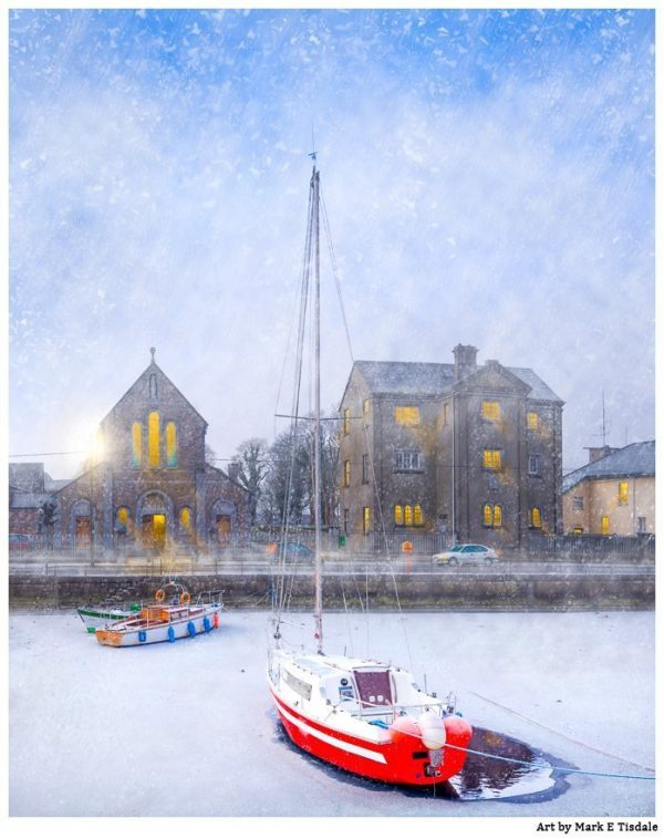Snow Falling On Claddagh Quay - Galway Print by Mark Tisdale