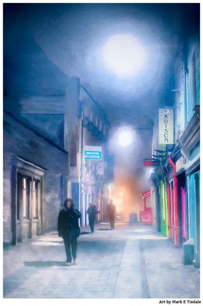 Galway Fog - Ireland at Night - Print by Mark Tisdale