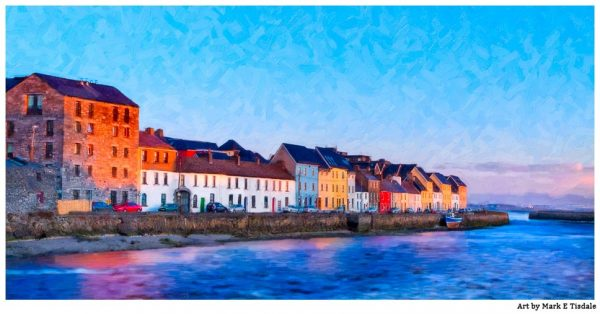 Galway Panorama - The Long Walk on Galway Bay in Ireland - Print by Mark Tisdale