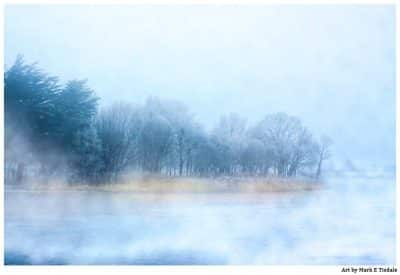 River Corrib in Galway Ireland - Foggy Irish Landscape Print by Mark Tisdale