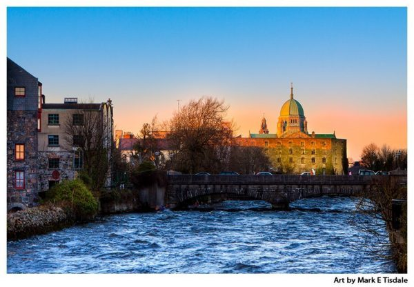 Golden sunset on the Galway Skyline over the River Corrib - Print by Mark Tisdale
