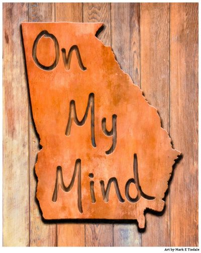 Georgia On My Mind - Rustic Map Art Print by Mark Tisdale
