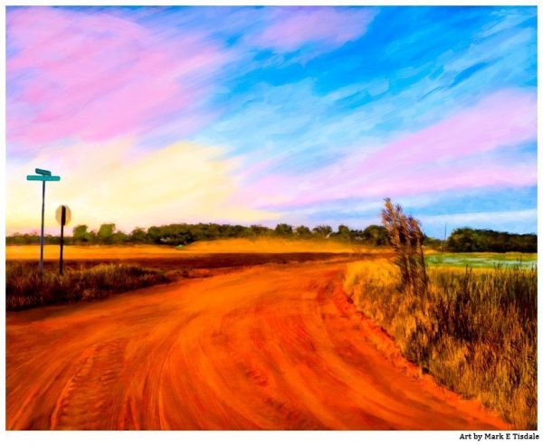Georgia Red Dirt Road - Macon County Sunset - Print by local artist Mark Tisdale