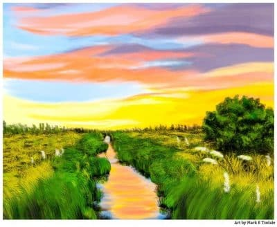 Salt Marsh At Sunrise - Georgia Coast Landscape Print by Local artist Mark Tisdale