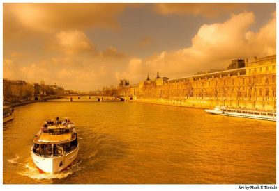 Golden afternoon in the sun on the river Seine - Paris Print by Mark Tisdale