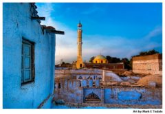 Golden Minaret Against a Blue Sky on Elephantine Island near Aswan Egypt - Print by Mark Tisdale