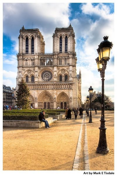 Gothic Notre Dame Cathedral - Paris Landmark Print by Mark Tisdale