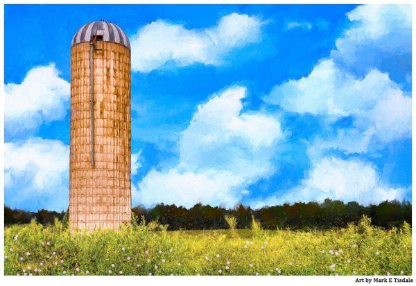 Grain Silo - Farm Landscape Art by Mark Tisdale