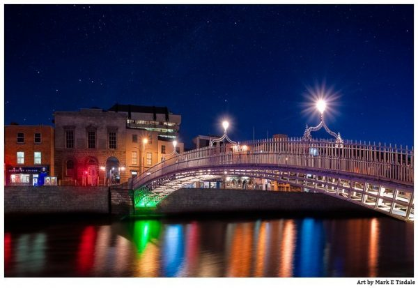 Ha'Penny Bridge At Night - Dublin Ireland - Print by Mark Tisdale
