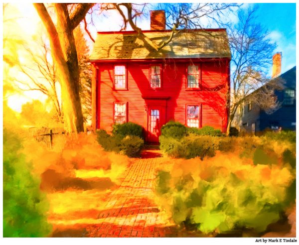 Nathaniel Hawthorne birthplace in historic Salem Massachusetts - Print by Mark Tisdale