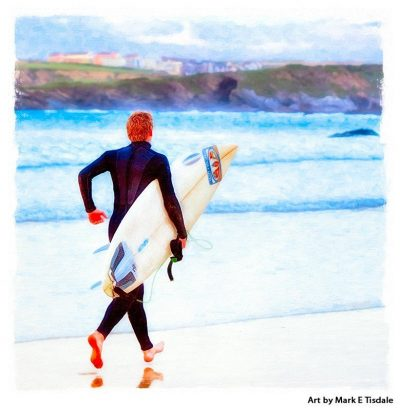 Surfer running on the beach at Newquay Cornwall - Print by Mark Tisdale