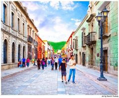 Streets of Historic Oaxaca Mexico - Mexican art Print by Mark Tisdale