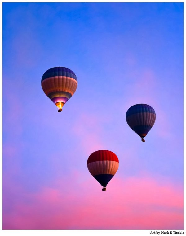 Hot Air balloons at dawn flying over Luxor Egypt - Print by Mark Tisdale