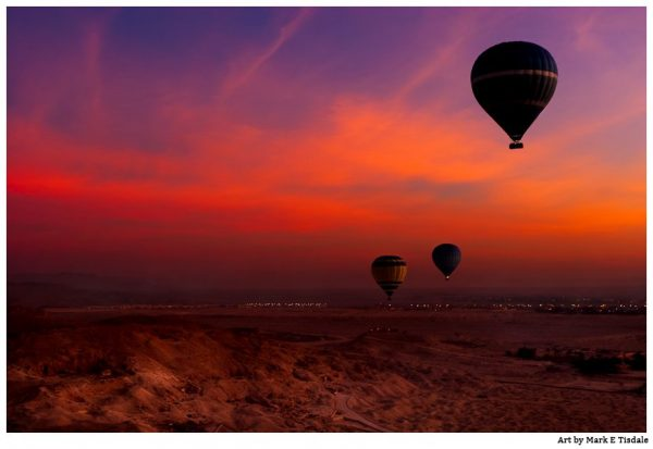 Hot Air Balloons In Flight at Dawn Over The Valley Of the Kings in Egypt - Print by Mark Tisdale