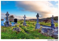 Irish landscape of Celtic Crosses - Aran Islands Cemetery - Inis Mór -rint by Mark Tisdale