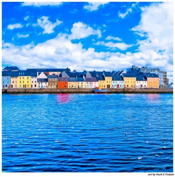 Irish Seaside Art Print - Galway Waterfront by Mark Tisdale
