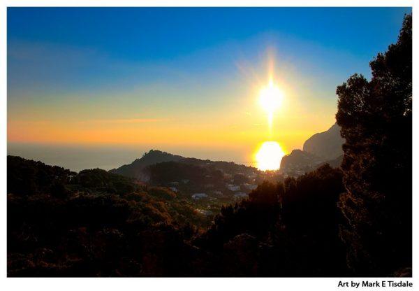 Isle of Capri Sunset - Italian Landscape Print by Mark Tisdale