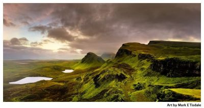 The Quiraing Landscape on The Isle of Skye - Panorama - Scottish Highland Landscape Print by Mark Tisdale