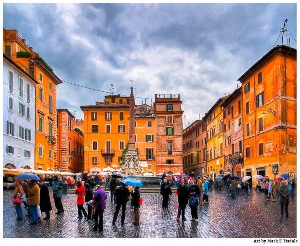 Italian Piazza in the heart of Rome - Piazza della Rotonda Print by Mark Tisdale