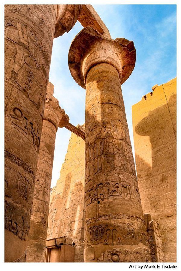 Columns of the Great Hypostyle Hall at Karnak Temple - Egypt Ruins Print by Mark Tisdale