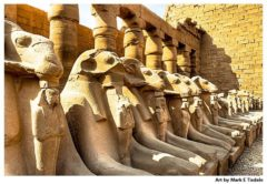 Ram's Headed Sphinxes Inside Karnak Temple in Egypt - Ancient Egypt Print by Mark Tisdale