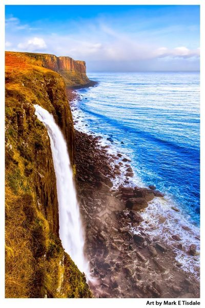 Mealt Falls and Kilt Rock on The Isle of Skye - Scottish Highlands Landscape Print by Mark Tisdale