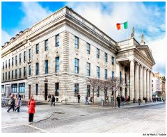 Lady in red standing on O'Connell Street outside the post office in Dublin Ireland - Print by Mark Tisdale