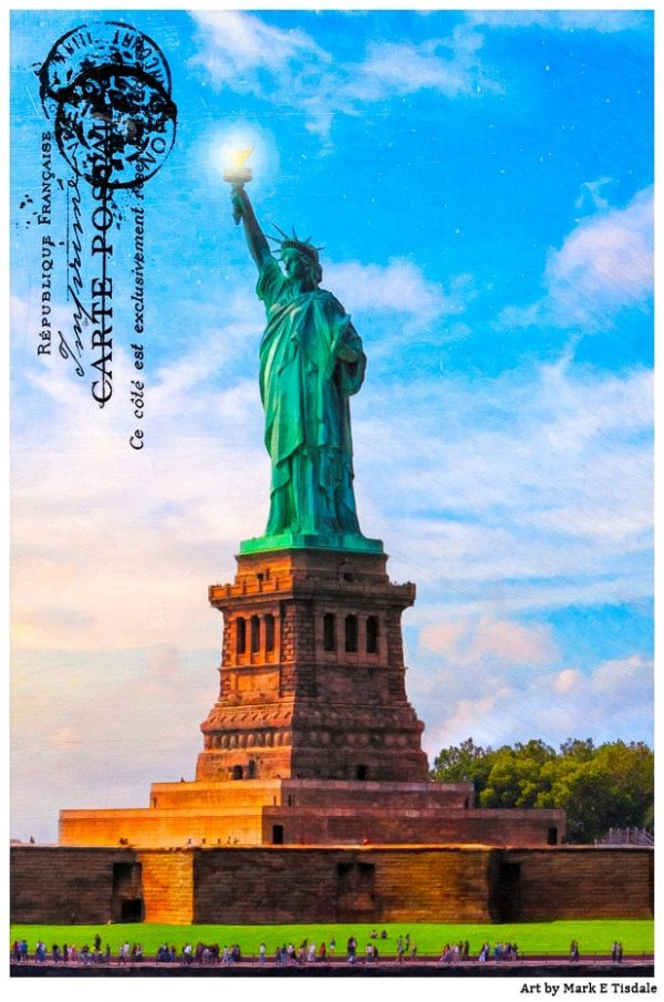 Lady Liberty In New York Harbor - Vintage Statue of Libery postcard style Print by Mark Tisdale