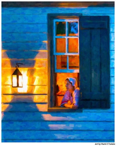 Art Print Of An Open Window By Lantern Light in Williamsburg Virginia