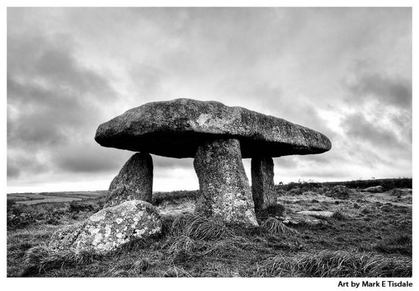 Neolithic Dolmen in Cornwall - Lanyon Quoit - Black and white print by Mark Tisdale