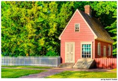 Little colonial cottage or vintage tiny house in Colonial Williamsburg Virginia - Print by Mark Tisdale