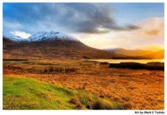 Scottish Highlands Sunset Print by Mark Tisdale - Loch Tulla