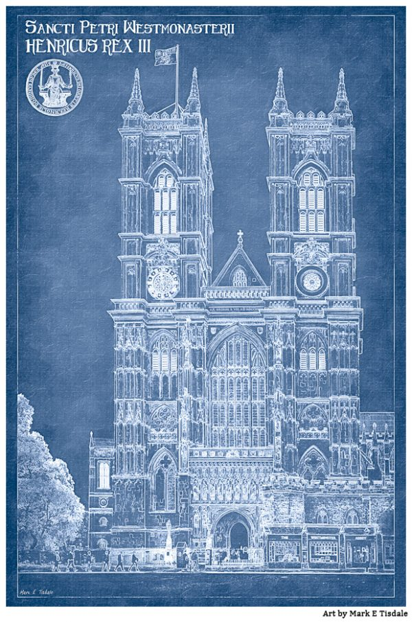 London Architectural Blueprint Art of Westminster Abbey by Mark Tisdale