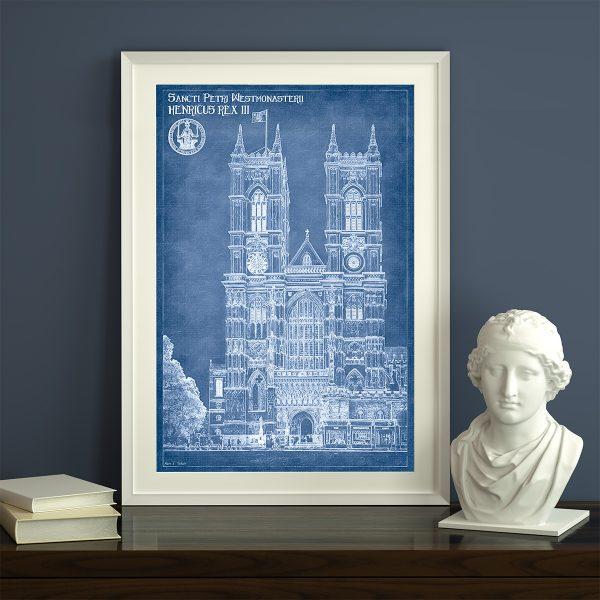 London Architectural Blueprint Framed Art Print