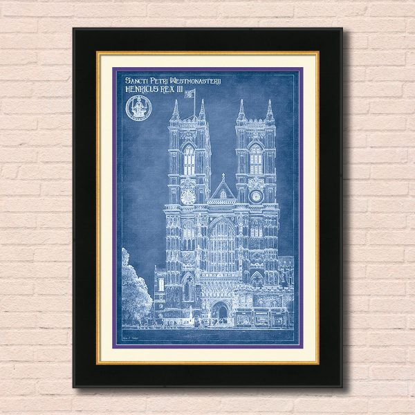 London Architectural Blueprint Art of Westminster Abbey - Framed Wall Art